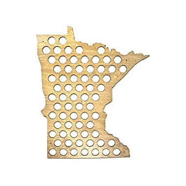 All 50 States Beer Cap Map - Minnesota Beer Cap Map MN - Glossy Wood - Skyline Workshop