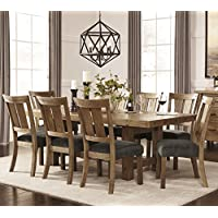 Tarmilr Casual Brown Color Rectangular Dining Room Set, Table, 8 Chairs