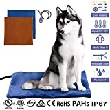 """Pet Heating Pad, GUSTYLE® 12W Electric Cat Dog Heater Bed Mat, 7 Grade Temperature Control with Chew Resistant Cord and 2 Free Soft Covers (20"""" × 20"""")"""