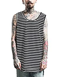 Mens Basic Longline Curved Hem Jersey Sleeveless Tops, Men Tee