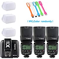 3xGodox TT600 High Speed Sync 2.4G Wireless Camera Flash Speedlite +Godox X1T-N Remote Trigger Transmitter for Nikon+3xDiffuser+ HuiHuang USB LED free gift