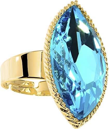 Brilliant Blue Faceted Teardrop Adjustable Ring