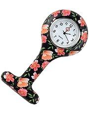 T Forma tasca durevole Orologio analogico al quarzo orologio Orologio da tasca Spilla silicone della clip Fob Medical vigilanza dell'infermiera Arancione