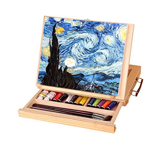 Catekro Caballete de escritorio de madera con cajon Caballete portatil pequeno para adultos / ninos / adultos mayores, 33.5 × 25.8 × 4.5 cm
