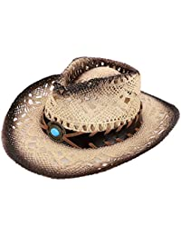 Kids Two Toned Ombre Straw Cowboy Hat w/ Gem Headwear Decoration