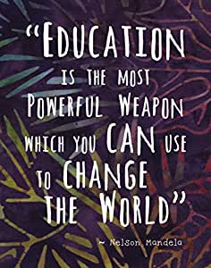"Colorful Batik Pattern Wall Art Print ~ NELSON MANDELA Famous Quote: 'EDUCATION...' (8""×10"")"