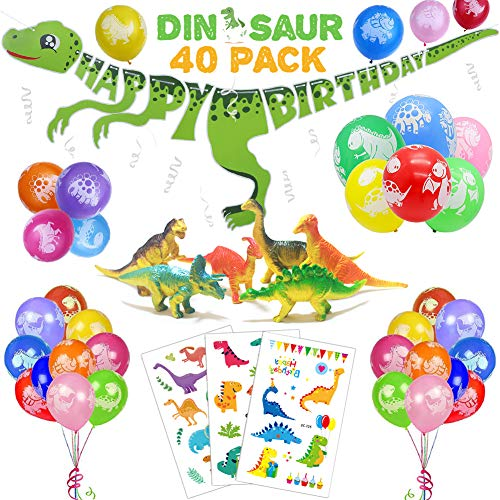 36 PACK Dinosaur Birthday Party Decorations for Kids - 3D Dinosaur Happy Birthday Banner, Colorful Dino Balloons, Mini Dinosaur Models, Cute Cartoon Tattoos | Aster Birthday Supplies Set for 1st 2nd 3rd 4-12 year boys