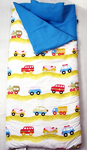 SoHo kids Cars children sleeping slumber bag with pillow and carrying case lightweight foldable for sleep (Personalized Sleeping Bags For Kids)