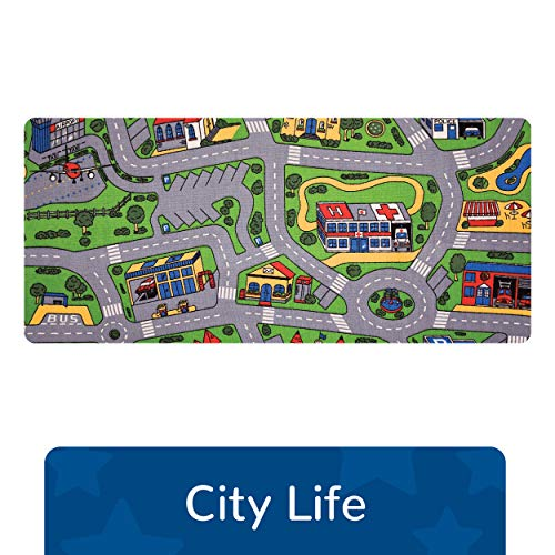 """Learning Carpets City Life Play Carpet, 79"""" by 36"""" - City-Themed Play Carpet Develops Imagination - Skid-Resistant Gel Backing - Durable - Portable Play Carpet for Hours of Fun - Indoor/Outdoor Use"""