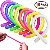 MICKYU Stretchy String Fidget Sensory Toys for Adults and Kids Stress Toy Helps with ADHD ADD OCD Autism, 16 Pack 8 Color