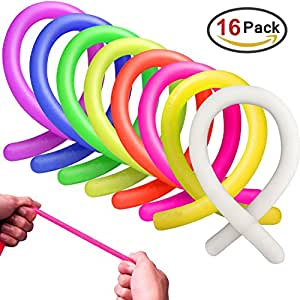 MICKYU Stretchy String Fidget Sensory Toys Colorful Yoga Exercise Bands for Adults and Kids Stress Toy Helps with ADHD ADD OCD Autism,16 Pack 8 Color