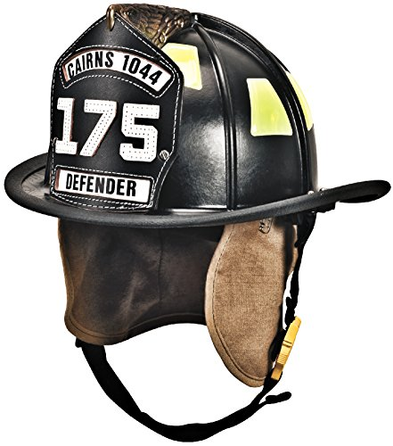 MSA 1044DDB Cairns 1044 Traditional Composite Fire Helmet with Defender, Deluxe Leather with Crown Pad, PBI/Kevlar Earlap, Lime/Yellow Reflexite, 6