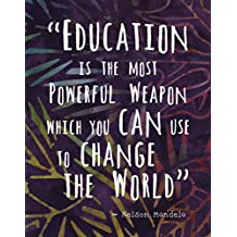 "Colorful Batik Pattern Wall Art Print ~ NELSON MANDELA Famous Quote: 'EDUCATION...' (8""×10"")"