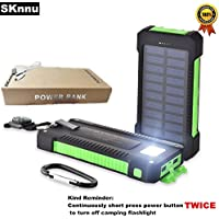 SKnnu 12000mAh Portable Charger Camping Charger Compact Power Bank w/ Dual USB Output Ports,Camping Flashlight,Waterproof Green