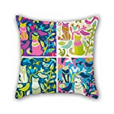 PILLO color block pillowcase ,best for outdoor,teens girls,teens,bedding,seat,family 20 x 20 inches / 50 by 50 cm(double sides)