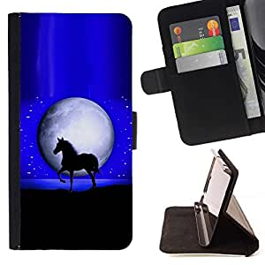 Momo Phone Case / Flip Funda de Cuero Case Cover - Luna Mustang caballo del semental Noche Negro - LG G4c Curve H522Y (G4 MINI), NOT FOR LG G4