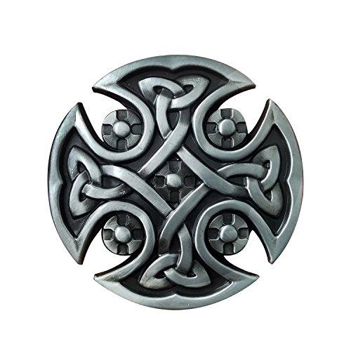 QUKE Mens Retro Irish Scottish Celtic Keltic Cross Knot Silver Belt - Belt Irish