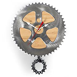 Bamboo Bike Clock by Resource Revival | Recycled Bicycle Material Wall Pendulum Clock | Rustic Modern Round Metal Gear Clock -  Created for the Adventurer