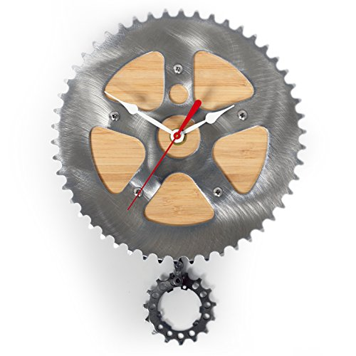 Bamboo Bike Clock by Resource Revival | Recycled Bicycle Material Wall Pendulum Clock | Rustic Modern Round Metal Gear Clock -  Created for the Adventurer (Recycled Clock)