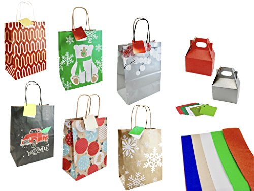 Premium Gift Bag Assortment Variety Pack for Christmas and Holidays – Includes 6 USA Made Large Decorative Gift Bags with Handles (8x10x4 inches) Tissue Paper Gable Boxes Gift Tags by Royal Needham