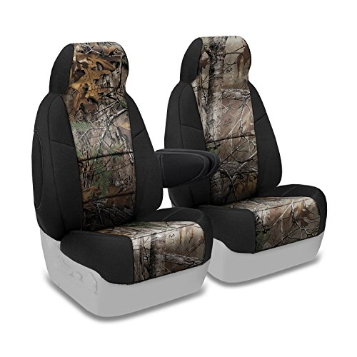 Coverking Front 50/50 Bucket Custom Fit Seat Cover for Select Chevrolet Silverado Models - Neosupreme Camo Real Tree (Xtra with Black Sides)