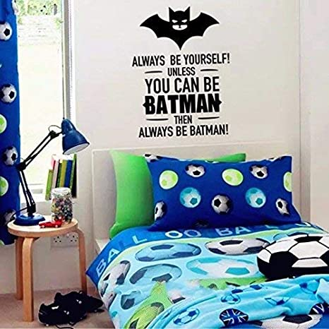 Cool Batman Art Decorations - Boys Bedroom Wall Art Decor Batman Quotes  Home Wall Stickers Vinyl Decal Kid\'s Room Wallpaper
