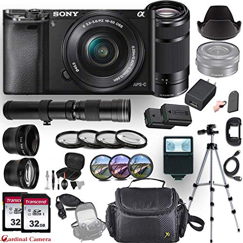 - Sony Alpha a6000 (Black) E-Mount Mirrorless Camera with 3 Lenses (E 16-50mm f/3.5-5.6 OSS, E 55-210mm f/4.5-6.3 OSS and 420-800mm Zoom Lens) + Professional Accessory-Kit Bundle