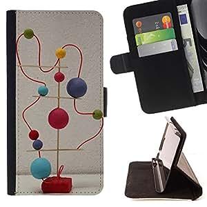 BullDog Case - FOR/Samsung Galaxy S4 IV I9500 / - / BALLS MODERN ABSTRACT ART STRUCTURE STATUE /- Monedero de cuero de la PU Llevar cubierta de la caja con el ID Credit Card Slots Flip funda de cuer