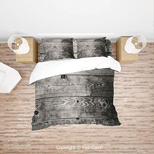 FashSam Duvet Cover 4 Pcs Comforter Cover Set Ombre Style Grunge Wooden Planks Rustic Timber Oak Wall Rough Texture Image Decorative for Boys Grils Kids(King)