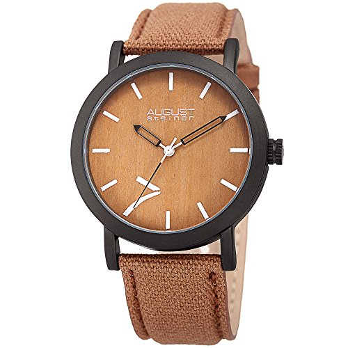 August-Steiner-Mens-Quartz-Stainless-Steel-and-Leather-Casual-Watch-ColorBrown-Model-AS8238BR