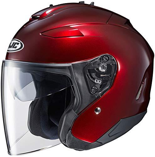 HJC IS-33 II Open-Face Motorcycle Helmet (Wine, Large) - Face Motorcycle Helmet Wine