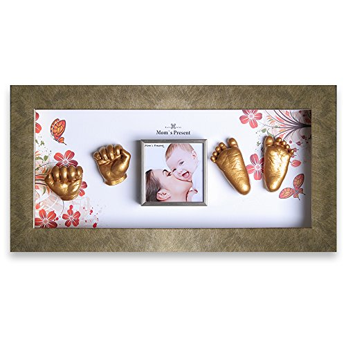 Momspresent Baby Hands and Feet Casting 3D Print DIY Kit with Gold Frame1 (Gold) by Moms Present
