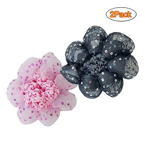 TCSHOW 2Pack Elastic Bun Cover Snood Ballet Dance Skate Hair Net Hairnet Barrette Crochet with Paillette (2Pack Each of Black and Pink)