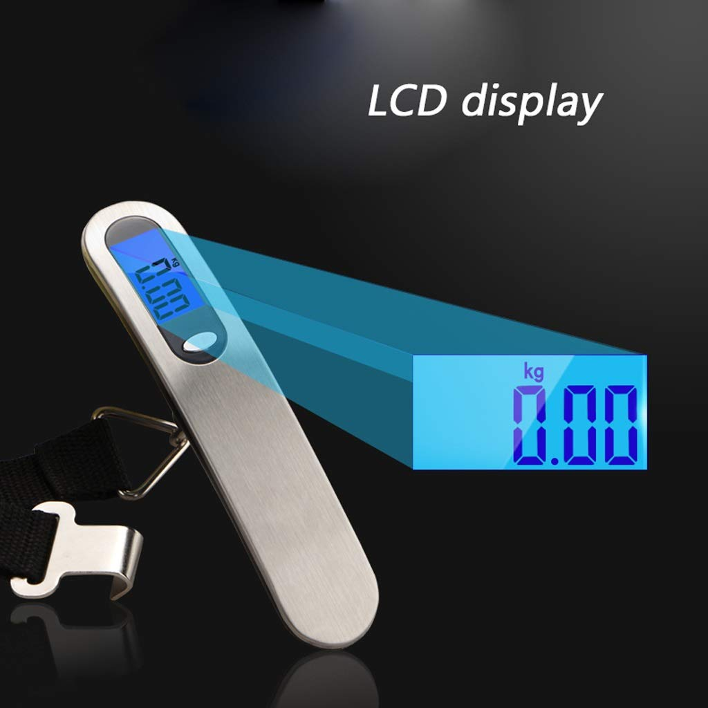 Color : Silver SKATEGY Digital Luggage Scale,High Precision,Heavy Duty Weight Scale,Backlight Hanging Scale,Ultra Portable Scale,MAX 110lb//50kg Suitcase Scale for Travel,Household and Outdoor