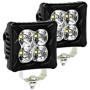 4WDKING LED Pods Flood Light Bar – 2PCS 40W CREE LED Off Road Work Light Truck Fog Lamp Tail Light IP69K Waterproof ATV…