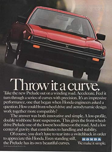 "Magazine Print Ad: Red 1983 Honda Prelude,""Throw it a Curve"""