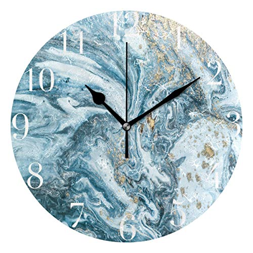 FunnyCustom Round Wall Clock Marble Pattern Acrylic Creative Decorative for Living ()