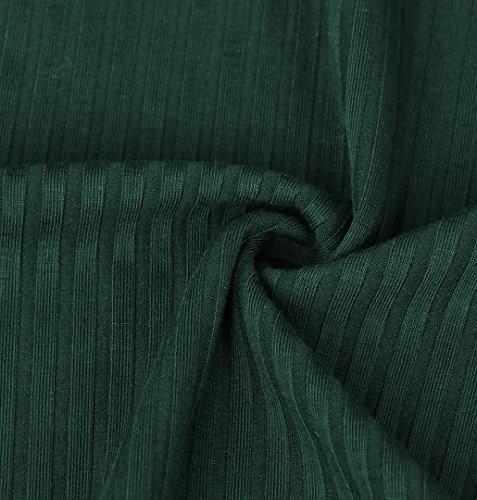 ZEZKT♪Damen Basic Langarm Shirt Frühling Einfarbig Stretch Oberteil Gestreift Tops Lange Ärmel Bluse Off Schulter Shirt Rundhals Casual Tunika Damen Elegant Grün