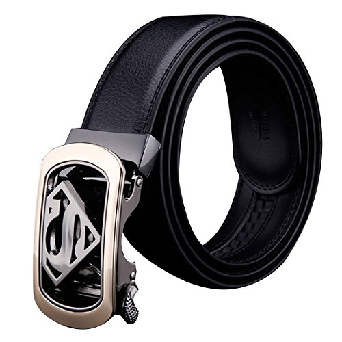 Automatic Buckle Genuine Leather Belt Men Accessories Casual Waist Belt Black110-130cm - Superman Fashion Belt