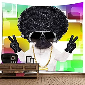 """Terroir Dog Art Wall Decor Tapestry, Jazz Style Blanket Fashion Dog With Long Black Wig& New Version Sunglasses, Golden Necklace Hang With Fragrant Bone Black Gloves In A Victorious Pose/ 79""""X 71""""Inch"""