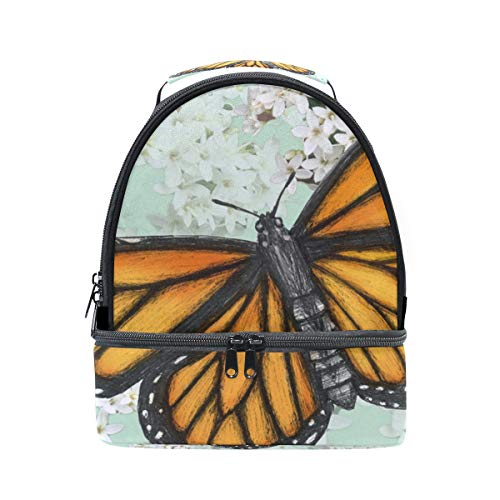 Double Decker Lunch Bag Tote Bag Elephant 03-2 Monarch Butterfly Illustration Drawn In Pen With Digital Color Travel Picnic Lunch Handbags Portable Cooler Lunch Holder - Pen Vintage Eagle