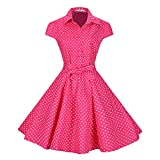 BI.TENCON Women's Retro Vintage 1950s Style Cap Sleeve Swing Party Dress