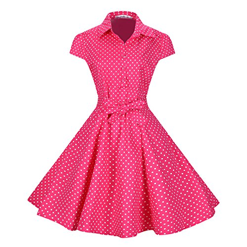 Fifties Dresses Plus Size (BI.TENCON Women's Retro Vintage 1950s Style Cap Sleeve Swing Party Dress Pink Polka Dot Plus)
