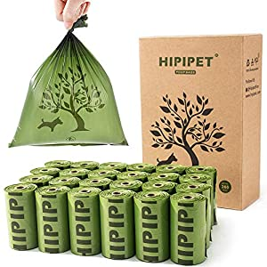 HIPIPET 360 Dog Poop Bags Degradable Waste Bag Earth-Friendly Leak-Proof for Dogs Doggie Cat Pet 24 Rolls, 15 Per Roll, 15% More Thicker and Tougher