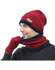 3Pcs Beanie Hat Scarf Gloves Set Knit Skull Cap Men Winter Neck Warm Bib
