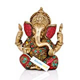 Collectible India 5.5' Lord Ganesha Brass Statue | Hindu God Ganesh Ganpati Sitting Idol Sculpture