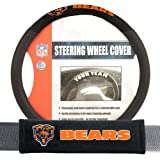 Fremont Die FMT-93101 Chicago Bears NFL Steering Wheel Cover and Seatbelt Pad Auto Deluxe Kit - 2 Pc Set