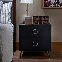 ComfortScape Modern 2 Drawer Bedroom Night Stand with Open Shelf for Storage, Black, Small