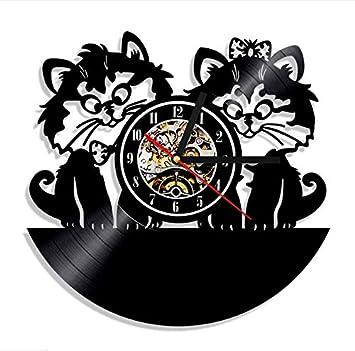 Knncch 1 Pieza Gato Pareja Reloj De Pared Animales Disco De Vinilo Relojes Gatos Amante Decoración para El Hogar Reloj De Arte Diseño De Gatitos Reloj De ...