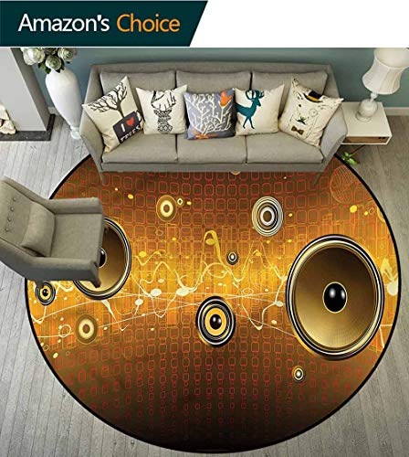 (RUGSMAT Music Round Area Rug Ultra Comfy Thick,Party Theme with Speakers Pattern Round Area Rugs Thin Diameter-59)